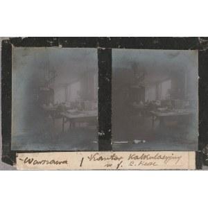 WARSZAWA. Szklany diapozytyw przedstawiający dwa zdjęcia kantoru kal ...