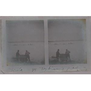 WARSZAWA. Szklany diapozytyw przedstawiający dwa zdjęcia wybierania  ...