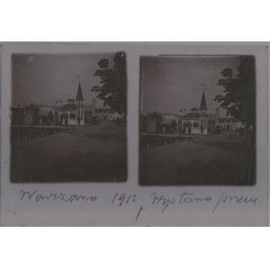 WARSZAWA. Szklany diapozytyw przedstawiający dwa zdjęcia wystawy prz ...