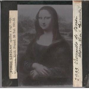 WARSZAWA. Szklany diapozytyw przedstawiający obraz Mona Lisa; z lewej ...