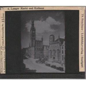 GDAŃSK. Szklany diapozytyw przedstawiający zdjęcie Długiego Targu  ...