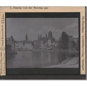 GDAŃSK. Szklany diapozytyw przedstawiający zdjęcie Motławy; wykon. ...