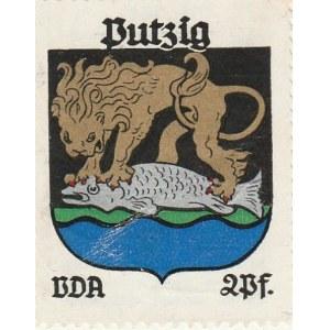 PUCK. Naklejka z herbem Pucka (lew trzymający rybę), seria poświęc ...