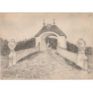 WIELE. Widok na fragment kalwarii, rys. ołówkiem autorstwa M. Paszy
