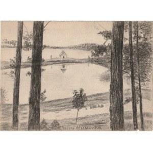 WIELE. Widok na Jezioro Wielewskie, rys. ołówkiem autorstwa M. Paszy ...