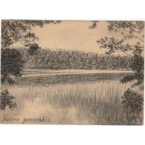 WIELE. Widok na jezioro, rys. ołówkiem autorstwa M. Paszyńskiego, s ...