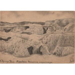 CHĘCINY. Widok na kopalnię kamienia wapiennego, rys. ołówkiem auto ...