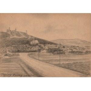 CHĘCINY. Widok na ruiny zamku, rys. ołówkiem autorstwa M. Paszyńsk ...