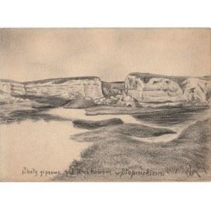 UNIKÓW. Widok na skały gipsowe, rys. ołówkiem autorstwa M. Paszyń ...
