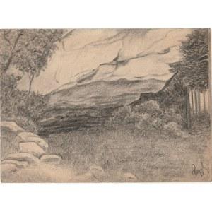 UNIKÓW. Widok z natury, rys. ołówkiem autorstwa M. Paszyńskiego, s ...