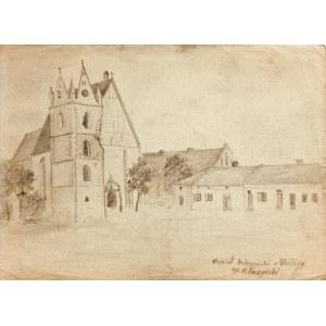WIŚLICA. Widok na gotycką kolegiatę, rys. ołówkiem autorstwa M. P ...