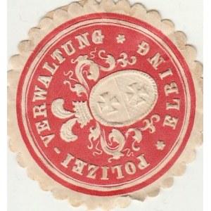 ELBLĄG. Naklejka policyjna z herbem Elbląga, kolor, st. bdb, okrąg