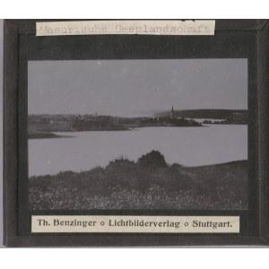 OSTRÓDA. Szklany diapozytyw przedstawiający zdjęcie jeziora, wykon. ...