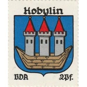 KOBYLIN. Naklejka z herbem Kobylina (wizerunek łodzi między burtami  ...