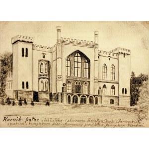 KÓRNIK. Widok na pałac, rys. ołówkiem autorstwa M. Paszyńskiego, ...