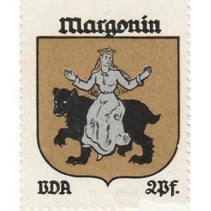 MARGONIN. Naklejka z herbem Margonina (panna siedząca na niedźwiedzi ...