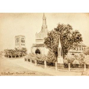 MIŁOSŁAW. Widok na kościół parafialny i dzwonnicę, rys. ołówki ...