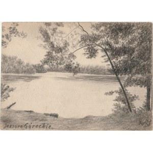 POZNAŃ. Widok na Jezioro, rys. ołówkiem autorstwa M. Paszyńskiego, ...