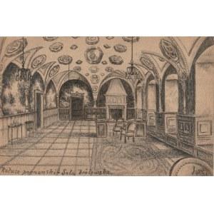 POZNAŃ. Widok na ratusz poznański, rys. ołówkiem autorstwa M. Pasz ...
