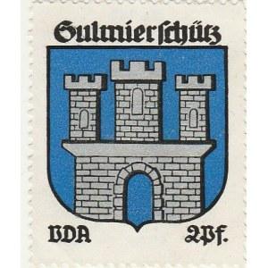 SULMIERZYCE. Naklejka z herbem Sulmierzyc (mury obronnego zamku), seri ...