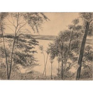 ŚREM. Widok na jezioro, rys. ołówkiem autorstwa M. Paszyńskiego, s ...