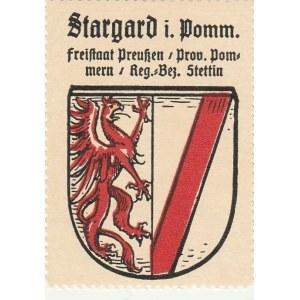 STARGARD. Naklejka z herbem z uproszczoną wersją herbu Stargardu spr ...