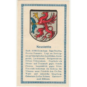 SZCZECINEK. Herb Szczecinka, poniżej krótki tekst dotyczący miasta; ...