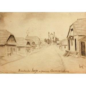 IWJE (biał. Іўе). Widok miasta, rys. ołówkiem autorstwa M. Paszy ...