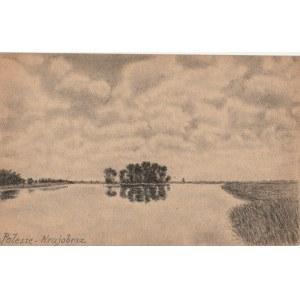 PIŃSK (biał. Пінск). Widok krajobrazu, rys. ołówkiem autorstw ...