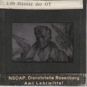 BERLIN. Szklany diapozytyw przedstawiający zdjęcie mężczyzny, wyko ...