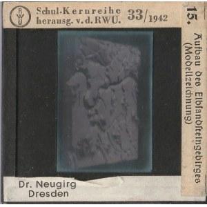 DREZNO, Szklany diapozytyw przedstawiający zdjęcie modelu Gór Poła ...