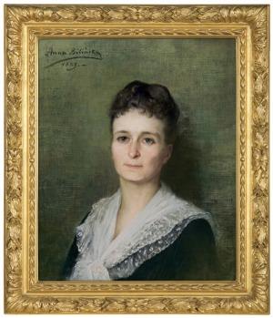 Bilińska - Bohdanowiczowa Anna, PORTRET PANI W SUKNI Z KORONKOWYM KOŁNIERZEM, 188