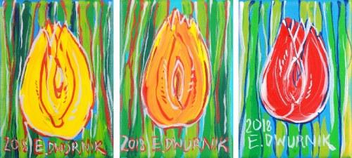 Edward DWURNIK (ur. 1943), Tulipany - tryptyk, 2018