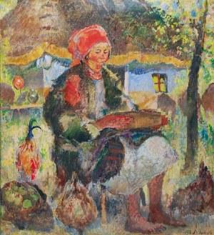 Kazimierz SICHULSKI (1879-1942), Kobieta karmiąca kury, 1933