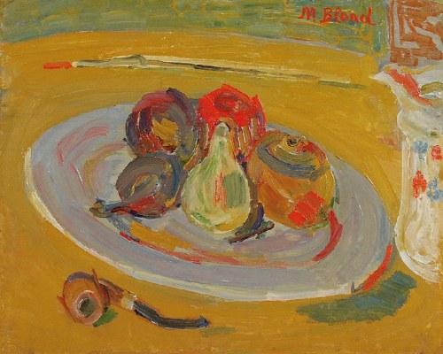 Maurice BLOND (1899-1974), Martwa natura z talerzem owoców i fajką