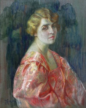 Józefina KIRCHNER (1890-1931), Portret pani w różowej sukni, 1929