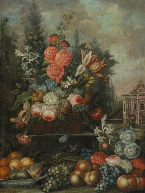MALARZ NIEOKREŚLONY, NIEMIECKI (?), XVIII w., Martwa natura z kwiatami i owocami