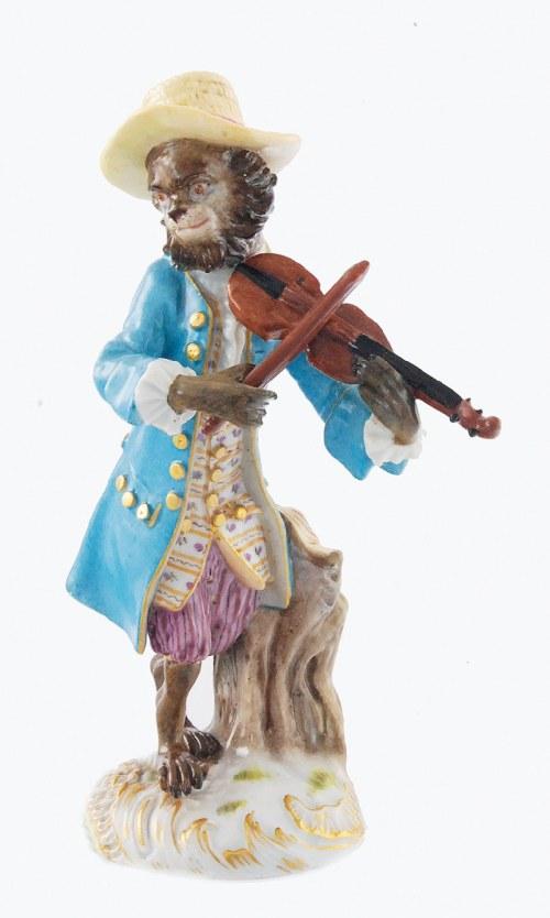 Johann Joachim KAENDLER (1706-1775) i Peter REINICKE (1715-1768), Małpka - skrzypek (Geiger), z zespołu Małpia orkiestra (Affenkapelle)