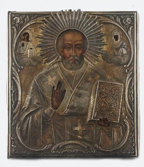 Wasilij Siergiejewicz SIKACZEW (złotnik czynny 1883-1917), Ikona - św. Mikołaj Cudotwórca, w okładzie