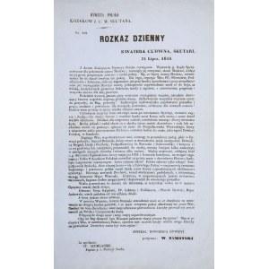 ROZKAZ GENERAŁA WŁADYSŁAWA ZAMOYSKIEGO, dowódcy Dywizji Kozaków Sułtańskich, 31.07.1856