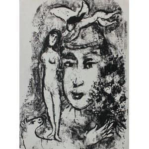 """Marc Chagall (1887-1985), Biały Clown(""""Derrière le Mirroir"""" no 147, 1964, Mourlot #411)"""