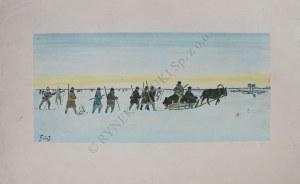 """Julian Fałat (1853-1929), Pochód myśliwych z sankami(z """"I Teki myśliwskiej - łosie i niedźwiedzie"""", 1919-1920)"""