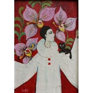 Krystyna Liberska (1926-2010), Pierrot i orchidee (1987)