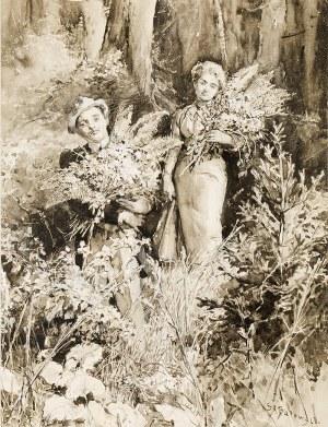 Stanisław Batowski Kaczor (1866-1946), Zbieranie paproci (ilustracja do powieści Elizy Orzeszkowej), przed 1902