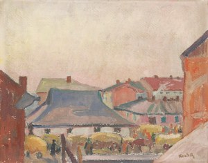 Emil KRCHA (1894-1972), Targ w miasteczku