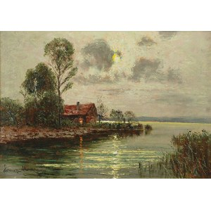 Ernst LORENZ-MUROWANA (1872-1950), Zachód słońca nad jeziorem