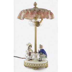 Porzellanfabrik Karl Ens (zał.1898), Volksted, Lampa na biurko z podstawą porcelanową - rozmawiająca para  przy stole