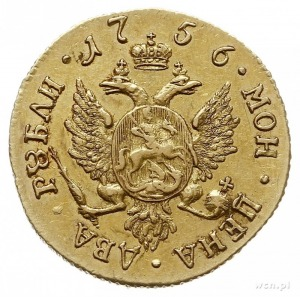 2 ruble 1756 СПБ, Petersburg, złoto 3.20 g, Diakov 384 ...