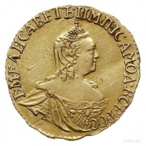 rubel 1756, Krasnyj Dvor (Moskwa), złoto 1.52 g, Bitkin...