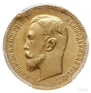 5 rubli 1909 ЭБ, Petersburg, złoto, Bitkin 34 (R), Kaza...